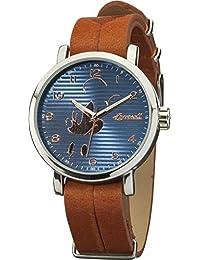 Disney by Ingersoll DIN007SLBR - Reloj de cuarzo, para mujer con correa de cuero, color marrón y azul