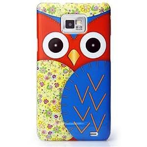 CaseiLike®, S02C3301-Blue, Eule-Grafik-Design, Snap-on zurück Gehäuse für Samsung Galaxy S2 S 2 S II SII i9100 mit Displayschutzfolie 1pcs.
