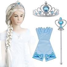 Vicloon 4Pcs Upgrade Princesa Vestir Accesorios - Peluca / Tiara con Diamante / Magic Wand / Guantes para Niña