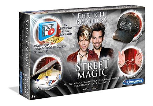 Clementoni-590490-Street-Magic Clementoni 59049 Ehrlich Brothers Street Magic, Zauberkasten für Kinder ab 8 Jahren, magisches Equipment für 40 verblüffende Zaubertricks, inkl. 3D Erklärvideos -