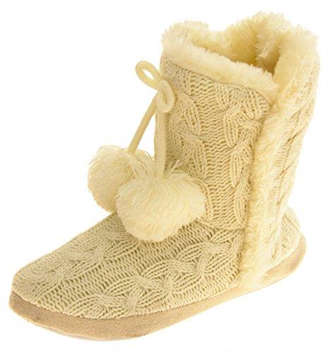 Footwear Studio Dunlop Damen Eleanor Kabel Gestrickte Pelzfutter Slipper Stiefel Creme EU 38-39