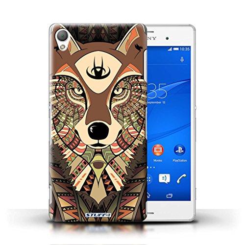 Coque en plastique pour Sony Xperia Z3 Collection Motif Animaux Aztec - Loup-Sépia Loup-Sépia