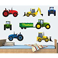 Personalised Tractors & Diggers - Wall Art Vinyl Stickers