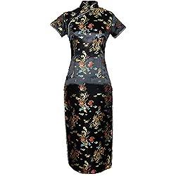 7Fairy Mujer Negro Vendimia Chino Fiesta Vestido Cheongsam Largo Dragón Tamaño ES 42