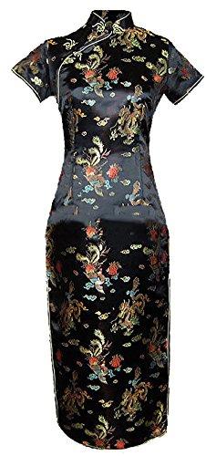7Fairy Damen Schwarz Ancient Chinesisch Abend Kleid Cheongsam Lang Drachen Größe De 48