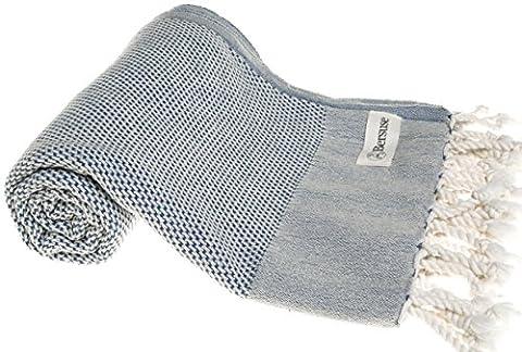 Bersuse 100% Baumwolle - Ventura Türkisches Handtuch - OEKO-TEX zertifiziert - Badestrand Fouta Peshtemal - Klassisches gestreiftes Pestemal - 95 X 175 cm Denim Blau