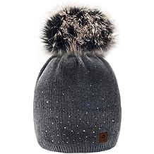 Winter Cappello Cristallo Più Grande Pelliccia Pom Pom invernale di lana  Berretto Delle Signore Delle Donne 225d867bcfa6