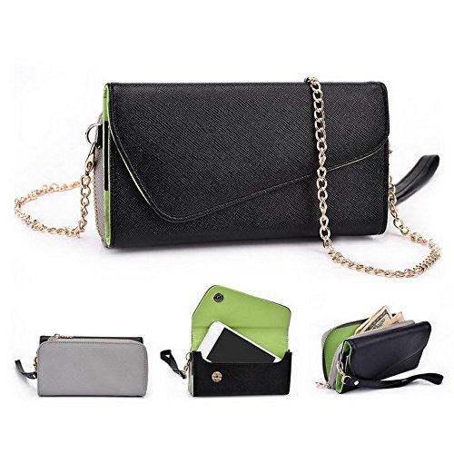 Kroo d'embrayage portefeuille avec dragonne et sangle bandoulière pour Yezz ANDY 3.5e2i Smartphone Multicolore - Black and Orange Multicolore - Noir/gris