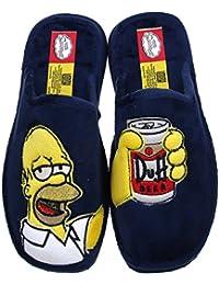 Andinas Damen Herren Jungen Mädchen Pantoletten Hausschuhe Pantoffeln Homer Simpson blau