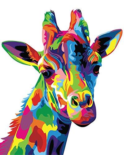 wand-Ölgemälde Geschenk für Erwachsene Kinder Malen Nach Zahlen Kits mit Holzrahmen Home Haus Dekor - Bunte Giraffe 15.75 * 19.69 inch ()