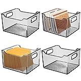 mDesign Juego de 4 cajas de almacenaje con asas integradas - Contenedor transparente para utensilios de cocina y baño o material de oficina - Organizador de escritorio en...