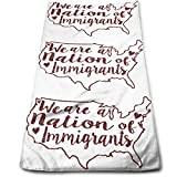 Jxrodekz We Are A Nation of Immigrants Multipurpose Soft Highly Absorbent Cotton Hand Towels Quick Dry for Daily Use 30cm X 70cm