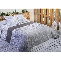 Algodón Blanco Guardamar - Colcha bouti estampada, para cama de 105 cm, 200 x 270 cm, 1 funda de cojín, 60 x 60 cm, color gris