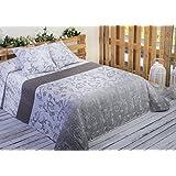 Algodón Blanco Guardamar - Colcha bouti estampada, para cama de 135 cm, 235 x 270 cm, 2 fundas de cojín, 60 x 60 cm, color gris