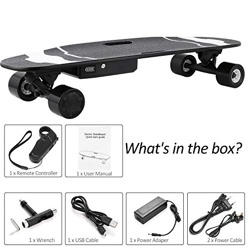 Tomasa Elektro-Skateboards 450W E-Skateboard Portable E-Board 25km/h Max 120kg mit Fernbedienung und Motor für Kinder & Jugendliche 83 x 26 x 14.5 cm (DE Lager)