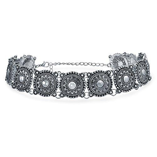 Bling Jewelry Native American Stil Coachella Festival Concho Breites Halsband Halskette Für Damen Jugendlich Metall Einstellbar -