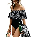 iBaste 2017 neue Damen Sexy Streifen Volants von der Schulter Bikini-Sets Badeanzug