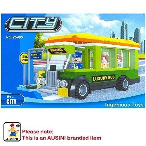 AUSINI con la marca ciudad bus set conductor y 2 pasajeros compatible bricks #25409