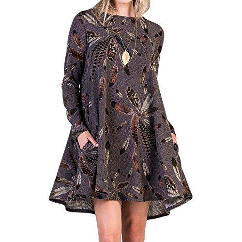 Femmes automne robe pull - hibote Casual Pull manches longues A-ligne jupe plage Mini robes courtes avec 2 poches Café