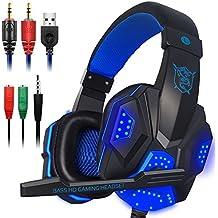 Gaming Headset con microfono e LED per computer portatile, cellulare, PS4 e nuova Xbox One, DLAND 3.5mm cablata a rumore isolamento Gaming Headphones - Controllo del volume (nero e blu)