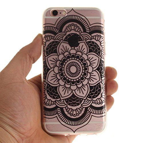 Pour Apple iPhone 6 6S 4.7 inch Coque Case de Protection Ultra Fine Transparente Flexible TPU Créatif Peinture Blanc Mandala color-4