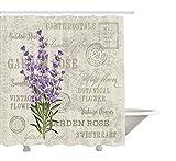 Cortina de ducha de lavanda por yeuss, Vintage Postcard Composici¨n con Grunge pantalla y flores, tela Set de decoraci¨n de ba?o con ganchos, lavanda reseda verde Beige 60?'x72', 72'x80'