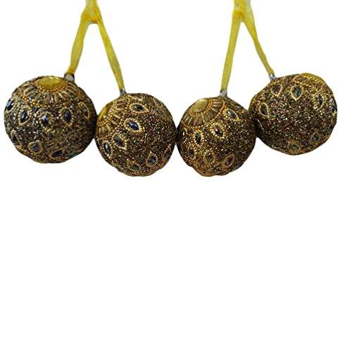 Artesanales adornos colgantes conjunto de 4 piezas de plástico lac material árbol topper de oro de forma redonda decoración colgante decoración de Navidad