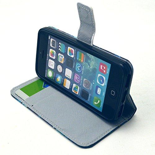 Beiuns Étui en Simili cuir pour Apple iPhone 5 5G 5S Housse Coque - G148 bleu chat G148 bleu chat