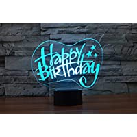 New 3D Happy Birthday Night Light Touch Table Desk Lamps 7 Color Changing Illusion Lights with Acrylic Flat ABS Base USB Charger for Christmas Gift