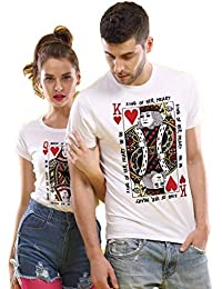 485554ede2 Bon Organik King/Queen of My Heart,Matching Couples Tees for Couple Printed  Cotton