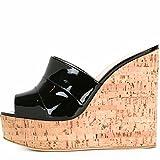 Damen Sandalen Hang mit Sandelholz-Grain Sandalen große Zahl der kühlen Drag und Drop, Schwarz, 34