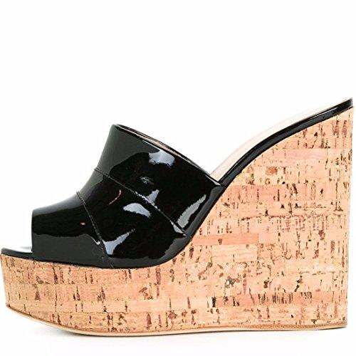 Kork Heels (Damen Sandalen Hang mit Sandelholz-Grain Sandalen große Zahl der kühlen Drag und Drop, Schwarz, 46)