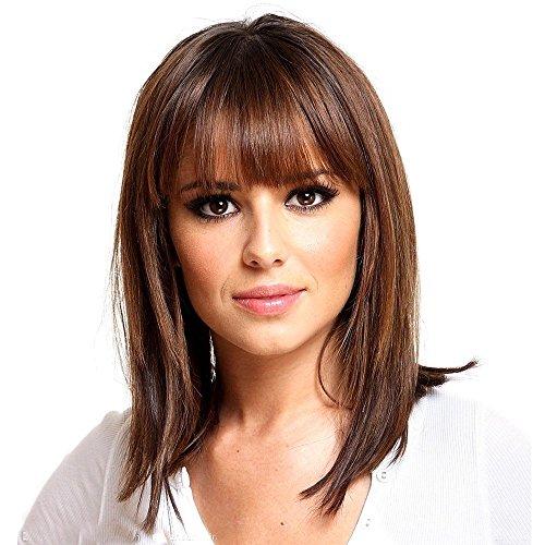 Asifen, parrucche per donne in capelli umani veri misti, media lunghezza