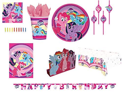 Mgs33 Kit Complet My Little Pony, 8 Enfants Complet Anniversaire (8 Assiettes, 8 gobelets, 20 Serviettes, 1 Nappe + 8 Invitations + 8 Sac Bonbons +24 Bougies+ 8 pailles + bannière)