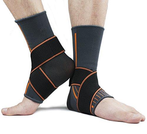 X-Cool Fußgelenk Bandage Fussbandage Knöchelbandage Sprunggelenk mit Klettverschluss 1 Paar Schmerzlinderung Arthritis Verstauchungen und Sport für Herren Damen (L,für Männer)