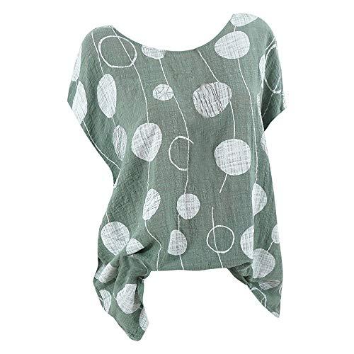 Bluse Damen Polka Dots Shirt Plus Size Shirt Casual Kurzarm T-Shirt Rundhals Pullover Lose Hemd Plissee Tops Sommer Oberteile Sport Freizeit Tanktops Freizeithemd Nette Hoodie -