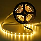 GEREE Warm white Led Strip Lights SMD 3528 16.4 Ft (5M) 300 Leds Flexible Rope Lighting Waterproof Tape Lights in DC Jack for Boats, Bathroom, Mirror, Ceiling and Outdoor - No Power Supply