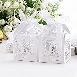 "These high quality favor boxes are perfect for any occasions. Fill each with candy, mints or any special goodies you would like to present to the guests.  Material: Pearlescent Art  Paper.Size:Approx.2""x2""x3"".Ribbon length:40mm  Package: 50 x..."