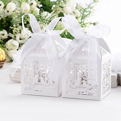 50pcs Laser Cut Wedding Sweets Love Bird Wedding Favor Candy Gifts Boxes Box Bomboniere with Ribbons...
