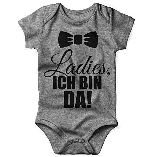 Mikalino Babybody mit Spruch für Jungen Mädchen Unisex Kurzarm Ladies, ich Bin da! | handbedruckt in Deutschland | Handmade with Love, Farbe:Heather, Grösse:56