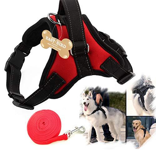 EAST-BIRD keine Pull Hundegeschirr, Atmungsaktiv Inklusive Verstellbarer Komfort, Leine, für Kleine Medium Large Dog, Best für Training Walking