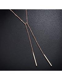 310762e9f178 Necklace Home Personalidad Simple Rosa de Oro Borla Larga Colgante Nueva  Palabra Collar Femenino de Acero