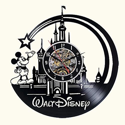 Meet Beauty Niedliche Mickey Mouse Walt Disney Vinyl Record Wanduhr kreative Kinderzimmer Kunst Dekor - einzigartige handgefertigte Geschenkidee für Jungen Mädchen Halloween Weihnachten