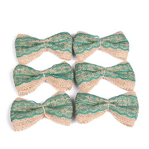 OULII Iuta della tela da imballaggio con fiocchi fai da te per la decorazione festa 6pcs(verde)