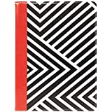 Emartbuy PU Leather Multi Angle Executive Folio Wallet Case Cover for Xiaomi Mi Pad 4 Plus (Size 9-10 Inch_Black/Red Stripes)