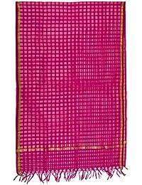 SD Fabrics Women's 100% Pure Silk Dupatta With Zari Work (Pink)