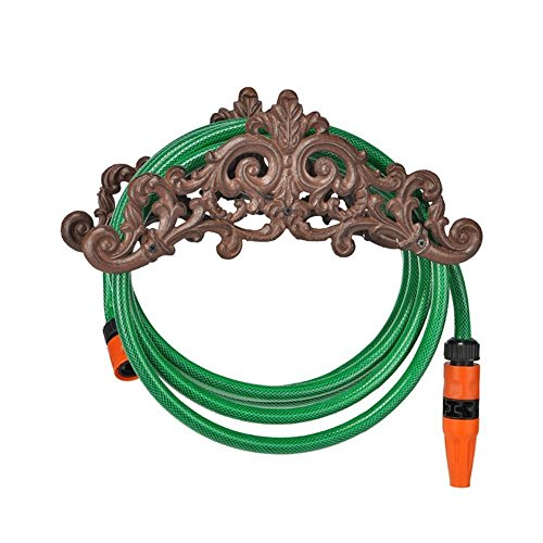 COM-FOUR® Gartenschlauchhalter, Schlauchhalter aus Gusseisen, 35,5 x 14 x 15,5cm (Schlauchhalter Eisen 1 Stück)