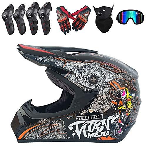 PKFG Full Face Casques Motocross Homme Set, ET-51 Casque de Moto Tout-Terrain Protection avec Gants Masque Lunettes Genouillères Coudières pour Protection de La Sécurité, Gris,XL(58~59CM)