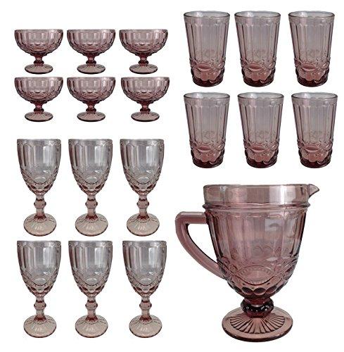 Vintage 19 Teile Set König Weinglas Glas Gläser Weingläser Eisbecher Wasserglas Longdrinkglas...