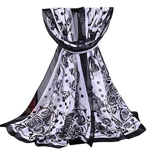 2018 l'automne Hiver Foulard Rovinci Femmes Dames Mode Imprimé Doux Châle Des Enveloppements Longue Écharpe Décontractée Sauvage Écharpes (Noir 2)